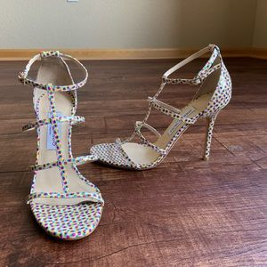 Jimmy choo colorful dots open toe strappy sandals